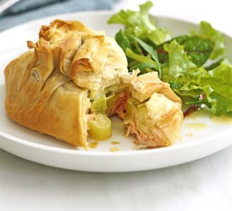 Salmon, leek and cream cheese pastry parcels.