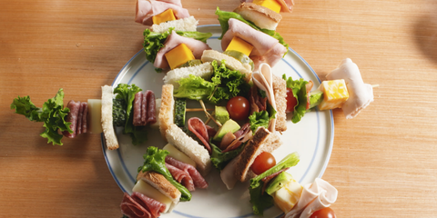 Kids party recipes featuring sandwich skewers