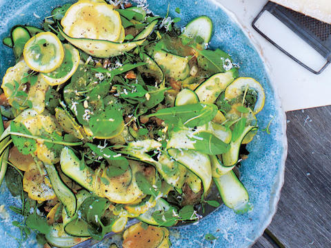 Shaved zucchini and macadamia nut salad
