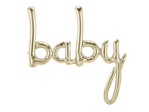 White gold baby script foil balloon from North Star | Boutique party shop online Party Kit Co.