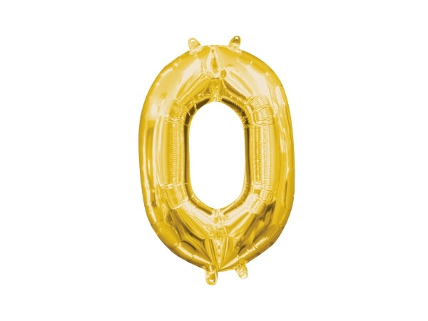 Gold Foil '0' Number Balloon - 40cm