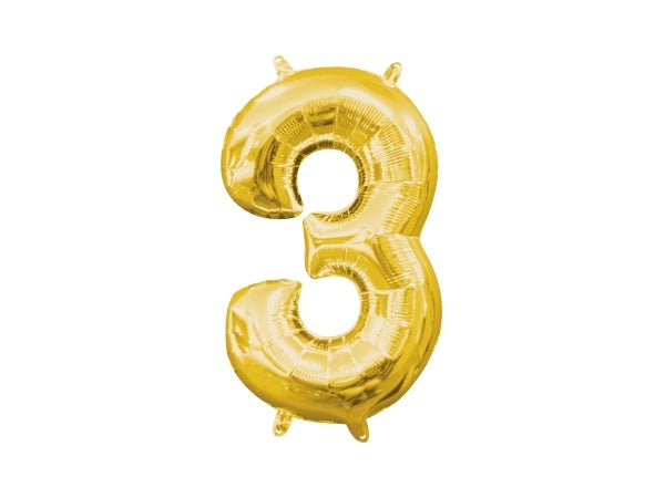 Number 3 gold foil balloon | 3rd birthday party supplies online