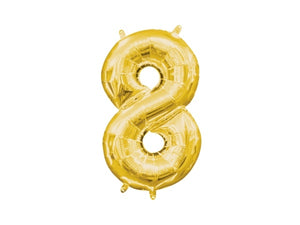 Number 8 gold foil balloon | Birthday party supplies for adults