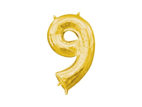 Number 9 gold foil balloon | Birthday party supplies for adults