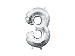 Number 3 silver foil balloon | 3rd birthday party supplies online