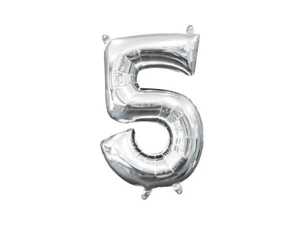 Silver number 5 foil balloon | 50th birthday party supplies online Sydney