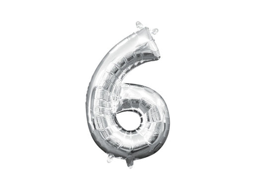 Silver foil number 6 balloon | Birthday party decoration supplies Sydney