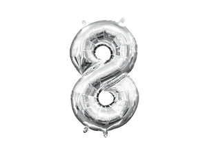 Number 8 silver foil balloon | Birthday party supplies for adults