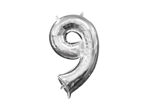 Number 9 silver foil balloon | Birthday party supplies for adults