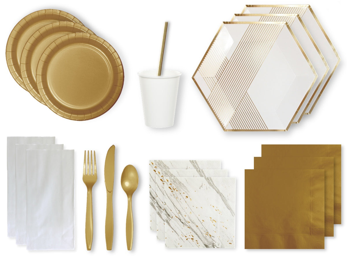 Boutique white and gold party pack online from Party Kit Company