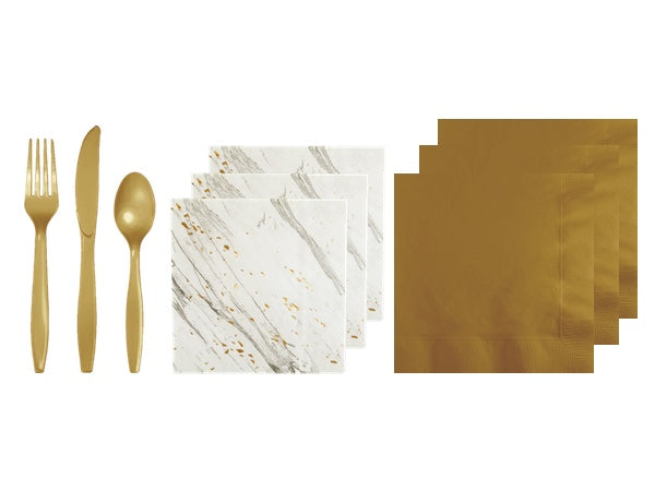 Gold and white marble napkins | Boutique white and gold party pack from Party Kit Company online party supplies decorations