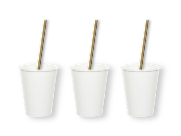 White cups and gold straws | Boutique white and gold party pack from Party Kit Company online party supplies decorations