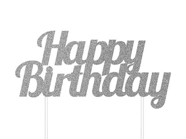 Silver Happy Birthday cake topper from online party store Party Kit Co.