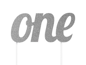 Silver glitter 'One' cake topper for a first birthday | Online party shop Australia