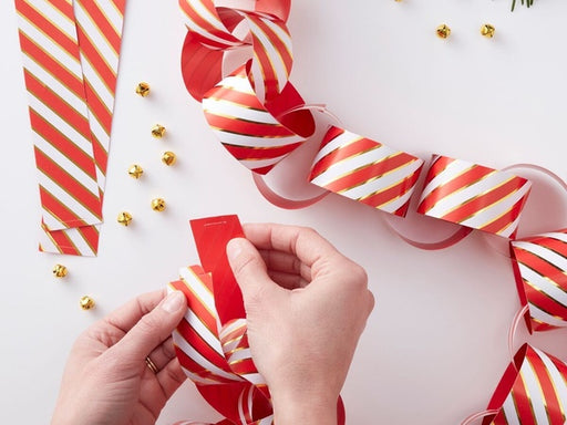 Red, white and gold foil DIY paper chain Christmas party decorations online Australia