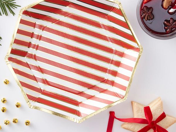 Christmas party plates from Ginger Ray - red, white and gold foil Christmas party supplies online