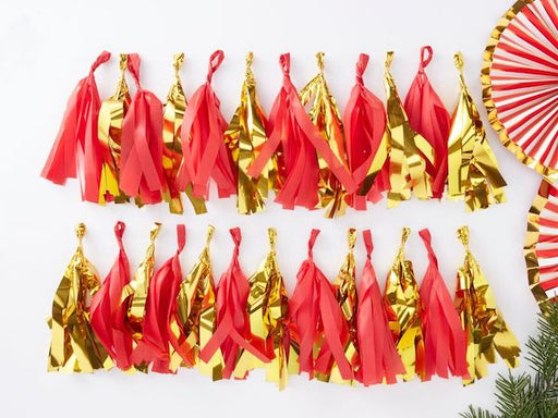 Red and gold foil tassel DIY Christmas Party Decorations online Australia