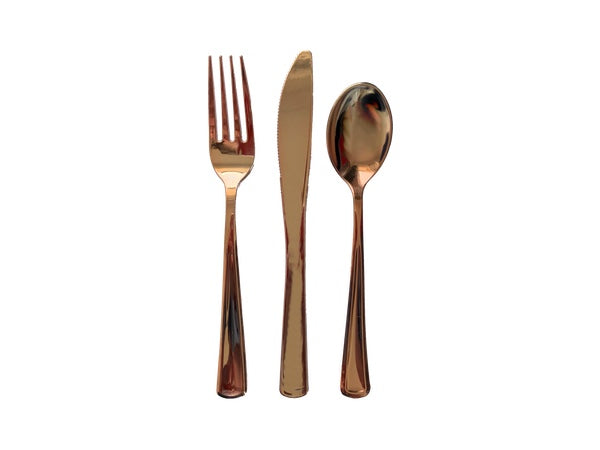 Metallic rose gold plastic party cutlery from Party Kit Company Online Australia