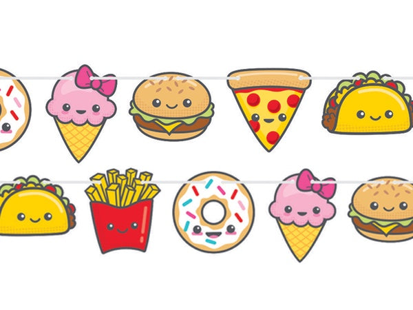 Tasty treats pizza taco party garland - party decorations online Australia
