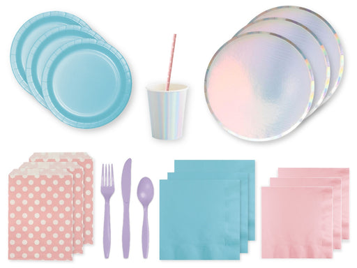 Iridescent pastel party in a box | Pastel party supplies online Australia