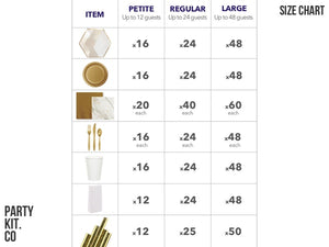 Size chart - Boutique white and gold party pack online from Party Kit Company