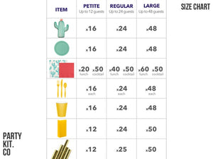 Cactus Fiesta themed party supplies size chart | Party in a Box from Party Kit Company Sydney
