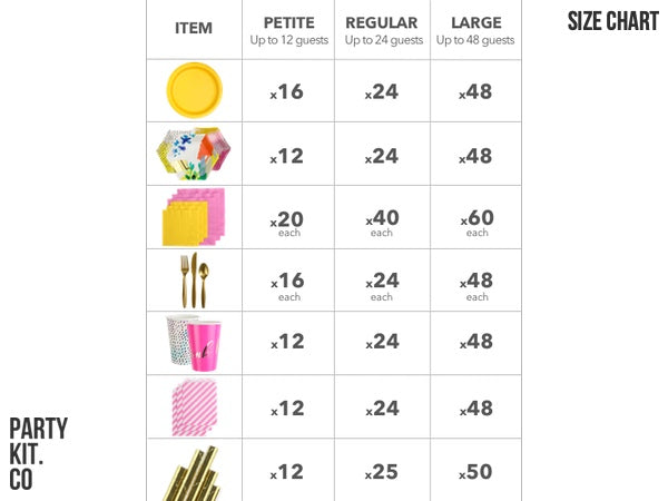 Fluoro Floral Birthday Party Kit Size Chart