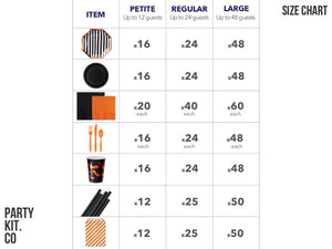 Halloween Party Pack size chart | Party in a Box online Australia | Party Kit Company