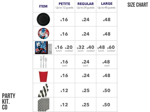 Magic party kit size chart | Party Box Au from Party Kit Company