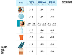 Moana themed party supplies size chart | Party in a box from Party Kit Company