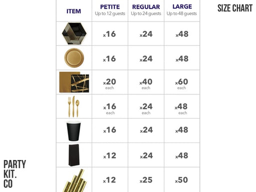Black and gold party in a box | Size chart from Party Kit Company