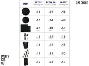 Black party supplies online | Black party in a box size chart