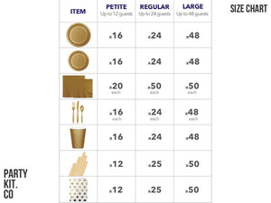 Size chart for Gold party supplies online | Party Box Australia from Party Kit Company