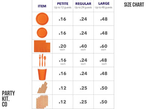 Orange party in a box | size chart | Party Kit Company Australia