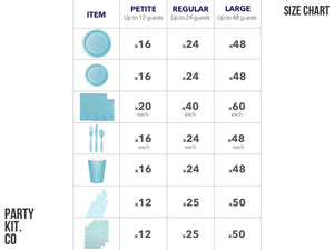 Pastel blue party supplies online | Party package size chart