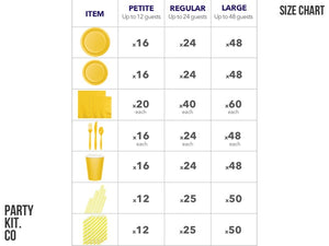 Yellow party supplies online Sydney - yellow party pack size chart