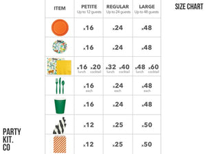 Safari themed party supplies online | Size Chart from Party Kit Company