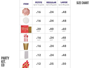 Christmas Party Kit Size Chart | Christmas party supplies online Australia from Party Kit Company