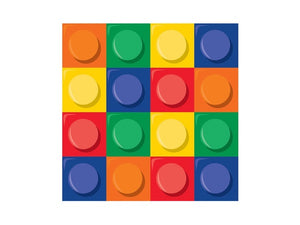 LEGO inspired party napkins from Party Kit Company online Australia