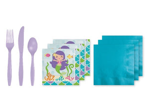 Mermaid napkins and cutlery | Mermaid party box online Australia