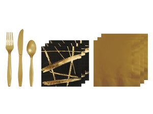 Noir party in a box | Gold napkins | Black and gold party supplies Afterpay Sydney