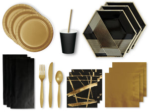 Noir party in a box | Black and gold party supplies Afterpay Sydney
