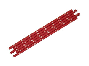 Red paper party straws with white stars | Paper straws online Australia