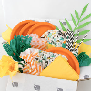 Safari party pack with all of your party supplies in a box!