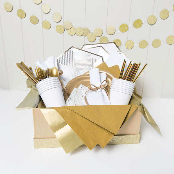 White and gold party supplies online | Party Kits and Party Packs Australia
