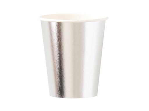 Shiny metallic silver foil party cups | Kids party supplies online Australia