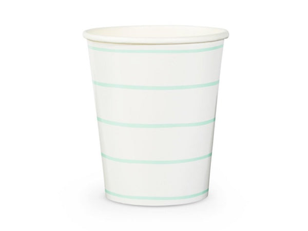Frenchie mint stripe party cups, perfect for birthday party supplies, Christenings, bridal showers and more!