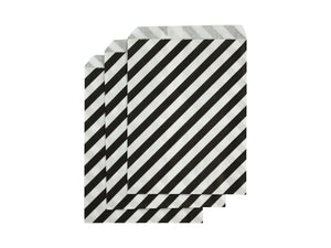 Black striped party bags, part of the Magician's party box Australia