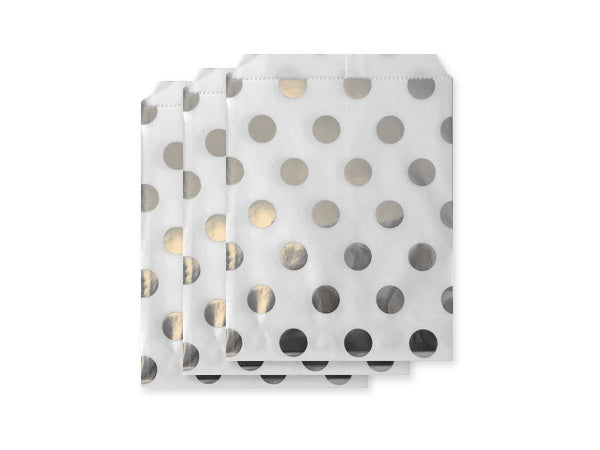 Silver foil polka dot paper party bags online