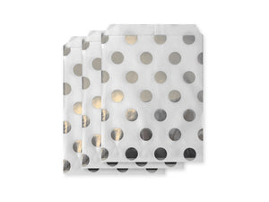 Silver foil polka dot paper party bags online | We sell awesome Party Boxes and Party Packs online